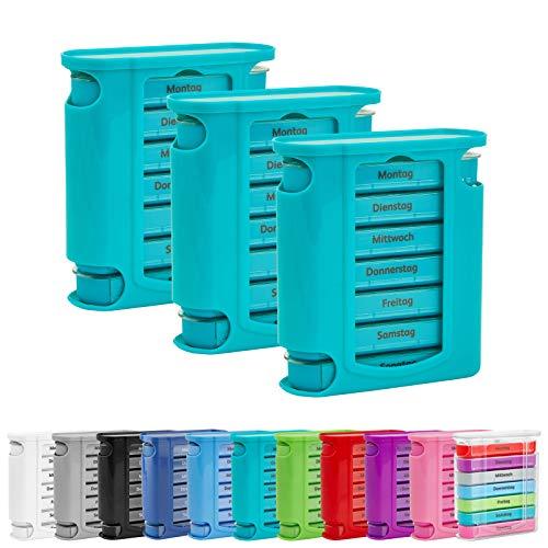 3x WELLGRO® Tablettenbox für 7 Tage - je 4 Fächer pro Tag - 11,5 x 4,5 x 13 cm (BxTxH) - Farbe wählbar, Farbe:Türkis