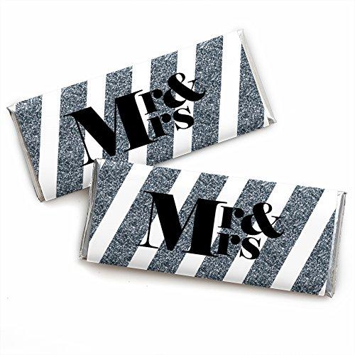 Mr. & Mrs. - Silber - Candy Bar Wrapper - 24 Stück (Auf Papier Dot Dem Candy)