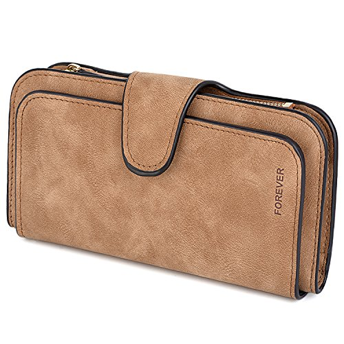 Uto portafoglio rfid grande capacità pelle morbido sintetica colore opaco stile nuovo e semplice borsa per donna o uomo doppio prospettiva per cellulare da 5,5''