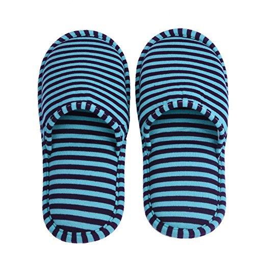 VGEBY 1 Paio Pantofole Pieghevoli Antiscivolo con Sacchetto di Stoccaggio per Casa Volo Albergo Interno ( Colore : Blue Stripes for Men ) Green Stripes for Men