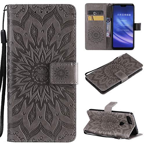 YYhin Schutzfolie für Xiaomi Mi 8 Lite / Mi8 Youth hülle, Cartera Wallet Leder abnehmbare magnetische abnehmbare Tasche mit Flip Schutzhülle Case.(Grau)
