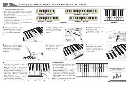 Klavier + Keyboard Noten-Aufkleber für 49 | 61 | 76 | 88 Tasten + Gratis Ebook | Premium Piano Sticker Komplettsatz für schwarze + weisse Tasten | C-D-E-F-G-A-H | einfache Anleitung auf Deutsch - 8