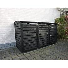 Mülltonnenverkleidung Holz für drei 240 Liter Tonnen, alternativ können auch 120 Liter Tonnen eingestellt werden