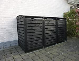 Mülltonnenbox für drei 240 Liter Tonnen in Holz, Farbe Anthrazit