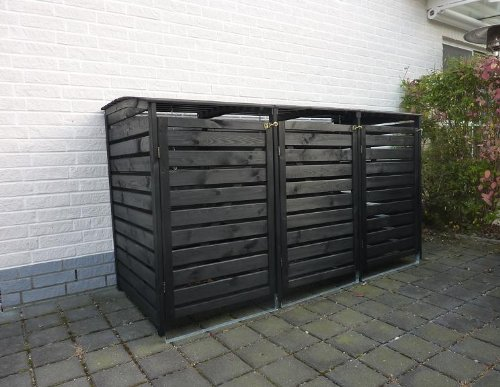 *Mülltonnenbox für drei 240 Liter Tonnen in Holz, Farbe Anthrazit*