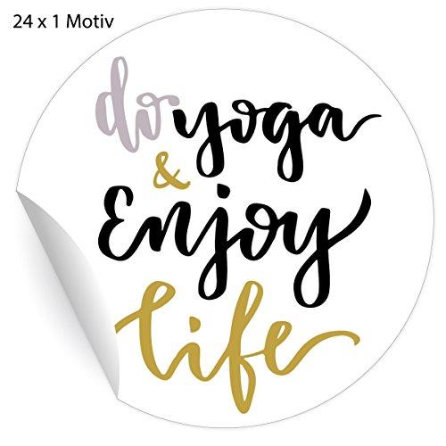 24 motivierende Yoga Aufkleber mit Motto do yoga & enjoy life, MATTE universal Papieraufkleber für Wellness Geschenke, Mitgebsel, Etiketten für Tischdeko, Pakete, Briefe und mehr (ø 45mm