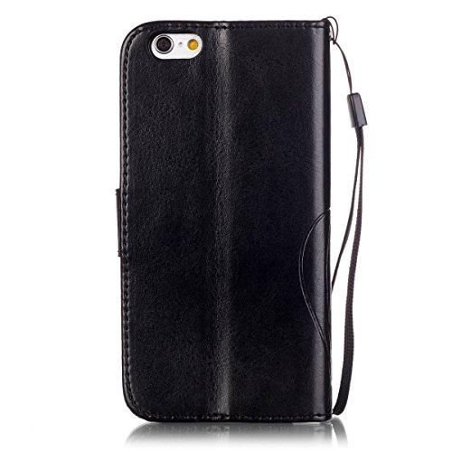 iPhone 7 Coque, Apple iPhone 7 Coque, Lifeturt [ Rouge ] Coque Dragonne Portefeuille PU Cuir Etui en Cuir Folio Housse, Leather Case Wallet Flip Protective Cover Protector, Etui de Protection PU Cuir  E02-Noir