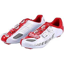 Asvert Zapatillas de Ciclismo Carretera Unisex Profesional con Plantilla Antideslizante Amortiguador para Bicicleta al Aire Libre (Blanco, 42)