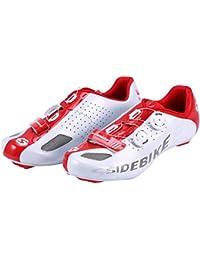 Asvert Zapatillas Bicicleta Montaña Unisex Profesional con Sistema ATOP Botón de Cordones de Zapatos Plantilla Antideslizante Amortiguador para Ciclismo MTB al Aire Libre (44, Blanco Rojo)