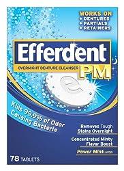 Efferdent PM Overnight Denture Cleanser Tablets Power Mint