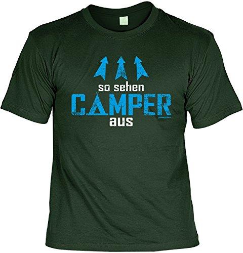 Fun Shirt mit lustigem Motiv - So sehen Camper aus - Wohnwagen - Geschenk zum Geburtstag - Camping - dunkelgrün Dunkelgrün