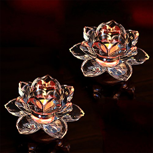 Flor de loto Candeleros Cristal Candelabros de Mesa de Portavelas de V