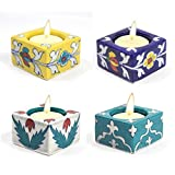 "Decorative Diyas Indian Art Home and Office Décor Blue Art Pottery Multicolor Cube Shape 4 Ceramic Tea Light Candles Set /Multi Occasional Special Festival Gift Set - Handmade & Hand Decorative Tea Light Candles Pooja Diyas Authentic Art Work ""Each Candle Size L2.25 X W2.25 X H1.75 Inch"" Made by Indian Rural Awarded Artisans"