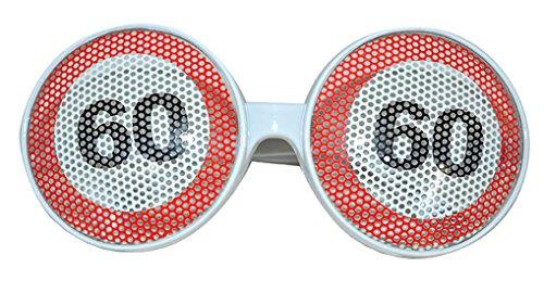 erdbeerclown - Kostüm Brille - 60. Geburtstag Partybrille mit Zahl, Mehrfarbig