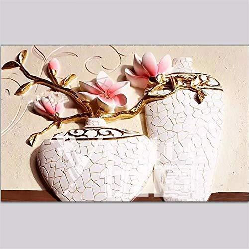 Wuyyii Fernsehapparathintergrundhintergrundpapier Der Kundenspezifischen Tapete 3D Prägte Romantisches Wohnzimmer Des Orchideenvases Romantisches Wohnzimmerdekor 3D-400X280Cm