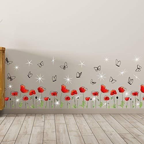 Wallflexi cameretta cristalli swarovski e fiori di papavero battiscopa murale decalcomanie home decorazione soggiorno ristorante cafe ufficio décor
