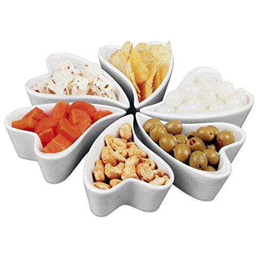 Lot de 6 coupelles apéritifs en porcelaine Blanc Coupelles pour dips/friandises