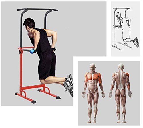 PullUp Fitness Barre de Traction Ajustable Station Musculation Dips Station Chaise Romaine (Rouge) 7