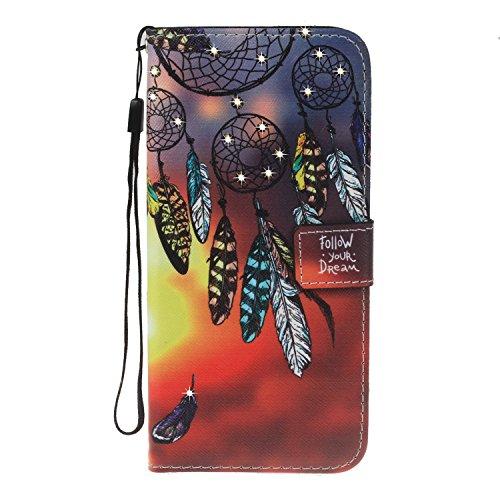 für iPhone 8 (4,7 Zoll) Hülle, Glitter Strass Bling Ledertasche Muster Weich PU Schutzhülle für Apple iPhone 8 (4,7 Zoll) Flip Cover Wallet Case Tasche Handyhülle mit Lanyard Strap Stand Function Magn 4