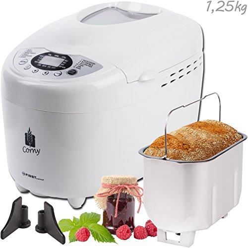 750-1250g Brotbackautomat mit 2 Knethaken und Nudel- und Pizza-Teig-Programm | Marmelade-Programm | 850 Watt | 12 Programme | Warmhaltefunktion | Verzögerungs-Funktion bis 15 Stunden | 17 Rezepte