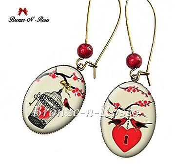 Boucles d'oreilles Mon coeur en cage cabochon rouge oiseaux cadeau