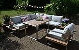 bomey Dining Ecklounge Atlanta in Braun I Lounge-Set bestehend aus einem Sessel und Ecksofa in braun, Tisch im Edelstahl/Teak Design & Polstern in Beige I Garten + Terrasse + Wintergarten