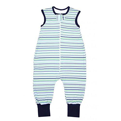 TupTam Unisex Babyschlafsack mit Beinen Unwattiert, Farbe: Streifenmuster Grün, Größe: 92-98 -
