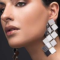 Large statement earrings silver, big earrings long earrings, sterling silver earrings geometric earrings, unusual earrings bohemian earrings, gift for women, by Emmanuela