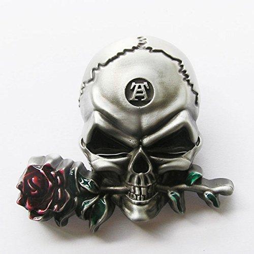 Boucle ceinture pour lanière universelle Tête de mort rose