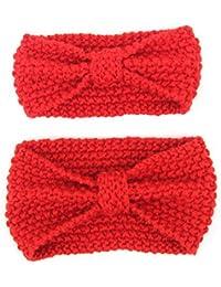 Boomly Mère Bébé Tricot Bandeau Hiver Chaud Bandeau en laine Noué Enfant  Enveloppement de tête Bande 5cc3aec2983
