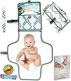 Tragbare Wickelunterlage - Wickeltasche für unterwegs mit Schnullerkette Mehrzweck Wickelstation - Windeltasche für Reise - Wickelset fürs Baby - Wickelauflage Organizer Matte komplett gepolstert