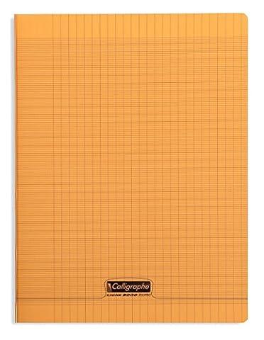 Clairefontaine 8000 POLYPRO 18398C Cahier piqué 192 pages grands carreaux couverture plastique 90 g 24 x 32 cm Orange