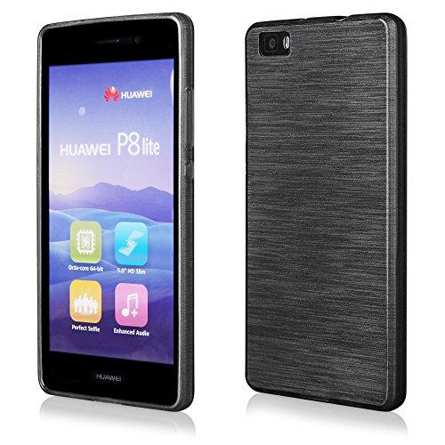 EGO® Silikon Case (für Huawei P8 Lite, Schwarz Transparent) Cover, Tasche, Metallic Effect Schwarz Transparent