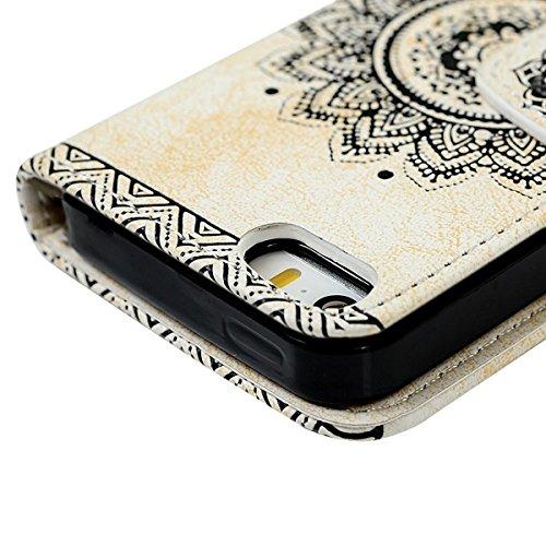 SMART LEGEND iPhone SE Ledertasche,iPhone 5S 5 Hülle Mandala Blume Drucken Brieftasche Handyhülle mit Handschlaufe Braun Muster Premium Schutzhülle Wallet Case Design Lederhülle Neu Zubehör im Booksty Weiß