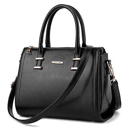 (G-AVERIL) Frauen Leder Handtaschen Vintage Tote Satchel Schultertasche Top Griff Geldbörse (Leder Bowling Tasche Kleine)