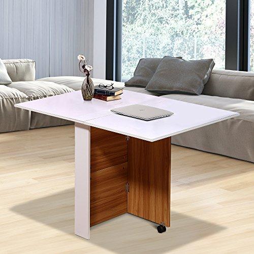 Tavolo Da Cucina Pieghevole Con Ruote.Homcom Tavolo Da Pranzo Design Moderno Pieghevole Con Ruote 120 80 73cm