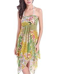 DEHANG - Paréo / Robe de plage Motif Floral Sexy Vintage pour Femme Bikini Cover Up - Trois Types Porté