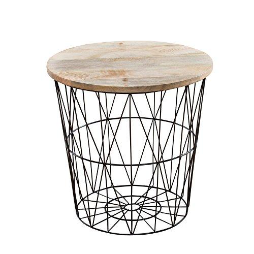 Invicta Interior Moderner Couchtisch Beistelltisch Storage aus Metall schwarz Holzdeckel aus Mangoholz Korb Aufbewahrung Tisch mit Mango Holz Ablage Aufbewahrungskorb -