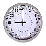 iwea Wanduhr Küchenuhr Modernes Design 24-Stunden Quarz Uhr Analog Silber Weiß 30cm