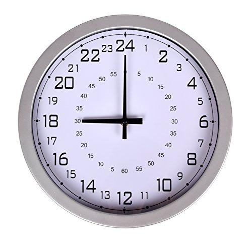 Wanduhr Küchenuhr Modernes Design 24-Stunden Quarz Uhr Analog Silber Weiß 30cm
