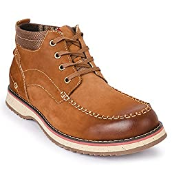 Action Shoes Mens Brown Leather Boots - 8 UK/Inida (42 EU)(NL-2516-BROWN)