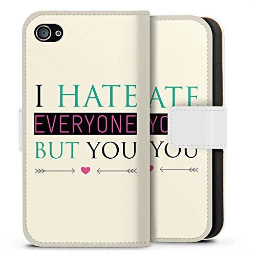 Apple iPhone X Silikon Hülle Case Schutzhülle Spruch Love Hate Herz Sideflip Tasche weiß