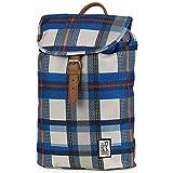 The Pack Society Backpack Blue Checks Allover Rucksack Blau Beige