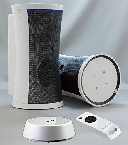 """Preisvergleich Produktbild Funklautsprecher Funk-Boxen Stereo Outdoor """"SONDER-ANGEBOT"""" Wireless Spritzwasserfest Inkl. Fernbedienung + Wandhalterung (Edel-Weiss oder in Schwarz erhältlich)"""