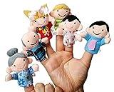 HAPPY CHERRY Gechichte Fingerpuppen Set Niedlich Style Familieglieder Rollenspiele Handpuppe Plüsch Spielzeug für Kinder Frühre Bildung (6 Kasperletheater)