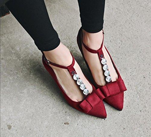 Da donna-Tacchi-Ufficio e lavoro Formale Serata e festa-Altro-A stiletto-Felpato-Nero Rosso Red