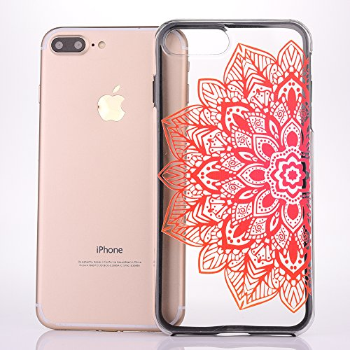 Custodia iPhone 7 Plus, iPhone 7 Plus Cover, SainCat Custodia in Plastica Protettiva Cover per iPhone 7 Plus, 3D Design Transparent Hard Case Ultra Slim Sottile Transparent Hard PC Cover Shock-Absorpt La metà di fiori darancio
