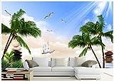 BZDHWWH 3D Wandbilder Wallpaper Benutzerdefinierte Bild Wandbild Landschaft Fresh Sea View Erfrischenden Meerblick Tv Sofa Hintergrund Wandbilder Dekor,250Cm (W) X 200Cm (H)