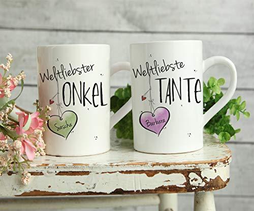 Weltliebste TANTE & ONKEL - Tassen Set ODER einzeln- individuell, personalisierbar, Geschenk, Weihnachtsgeschenk