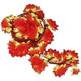 12 x Vigne Lierre Artificiel Plantes de Décoration - Feuille d'érable Rouge